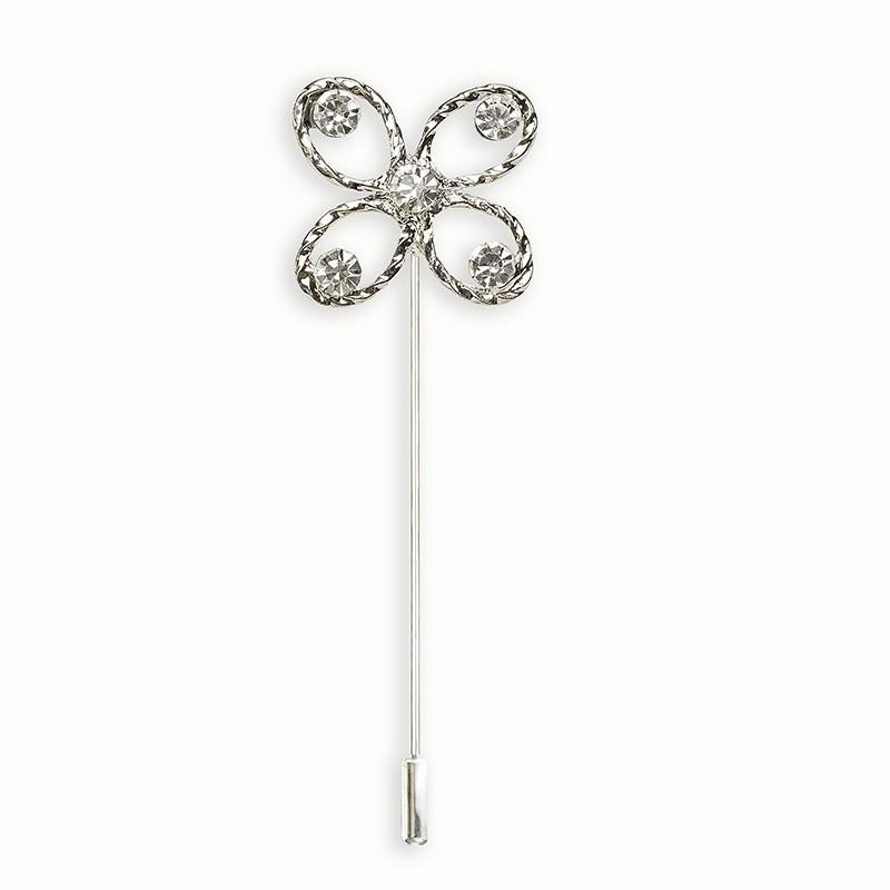 Alfiler novia plata con perla blanca y circonitas