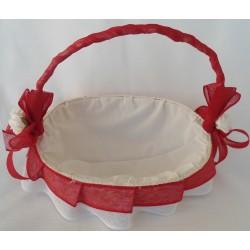 cesta pequeña decorada en rojo