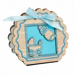caja madera azul